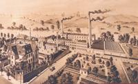 Villa Kaufmann in der Bergstraße 1 (links) und Textilfabrik an der Uferstraße um 1920