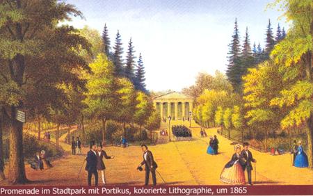 Promenade im Görlitzer Stadtpark um 1865