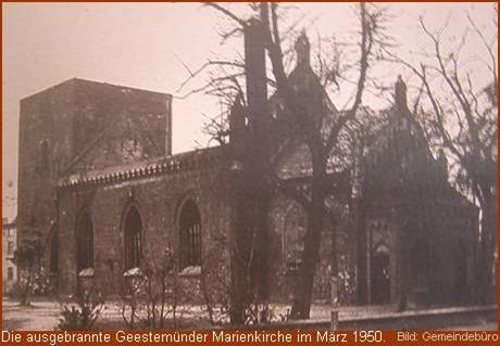 1950, ausgebrannte Marienkirche in Geestemünde