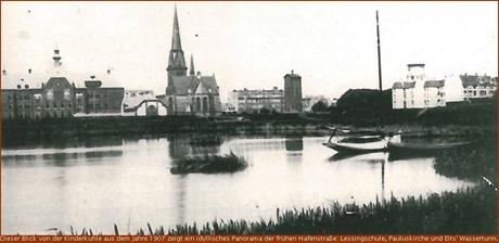 Lessingschule, Pauluskirche, Eits' Wassertum (Blick von der Kinderkuhle, 1907)