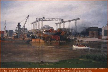 1914 Fischdampfer Roon im Bau