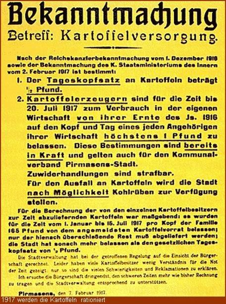 1917 werden Kartoffeln rationiert