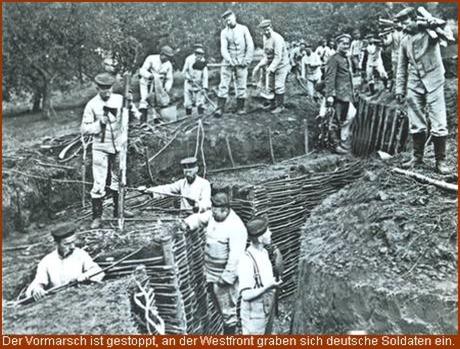 Bau eines Schützengrabens