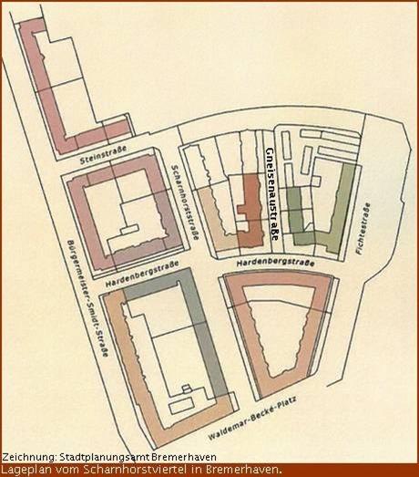 Lageplan Scharnhorstviertel Bremerhaven