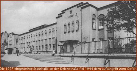 1927 Straßenfront der Stadthalle in Bremerhaven in der Deichstraße