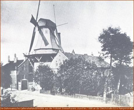 Unterweser Die Mühle auf dem Geestedeich wurde 1888 abgerissen