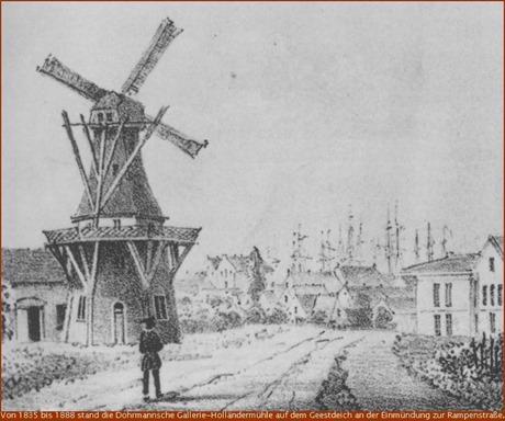 Unterweser Gallerie-Holländermühle von Heinrich Dohrmann auf dem Geestdeich