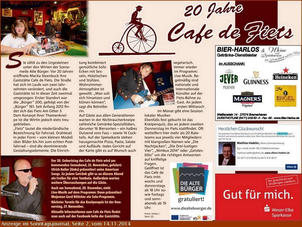 2014-11-18 Anzeige Café de Fiets