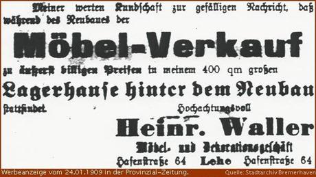 1909 Zeitungsanzeige Heinrich Waller