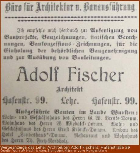 Werbeanzeige Architekt Adolf Fischer