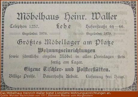 Zeitungsanzeige Möbelhaus Waller