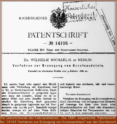 Patentschrift Kalksandstein