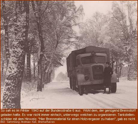 1943 Winter an der Bundesstrasse