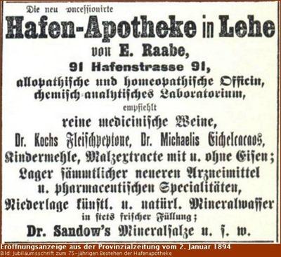 Eröffnungsanzeige der Hafen-Apotheke