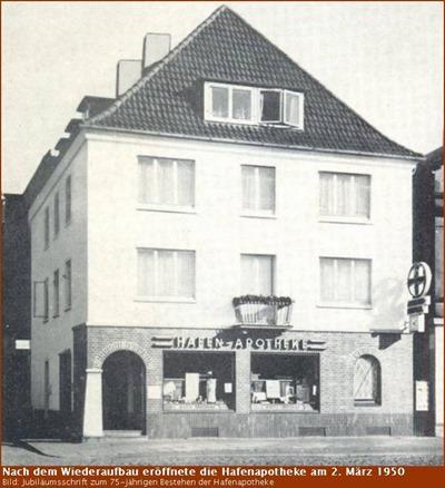 Hafen-Apotheke nach dem Wiederaufbau 1950