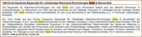 Erste Deutsche Bauanstalt für vollständige Wäscherei-Einrichtungen Stute & Blumenthal